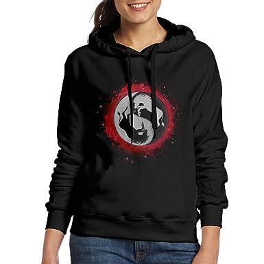 adf6cfea8e14 Amazon.com  Cool Yin Yang Unicorn Women s Hooded Sweatshirt  Clothing