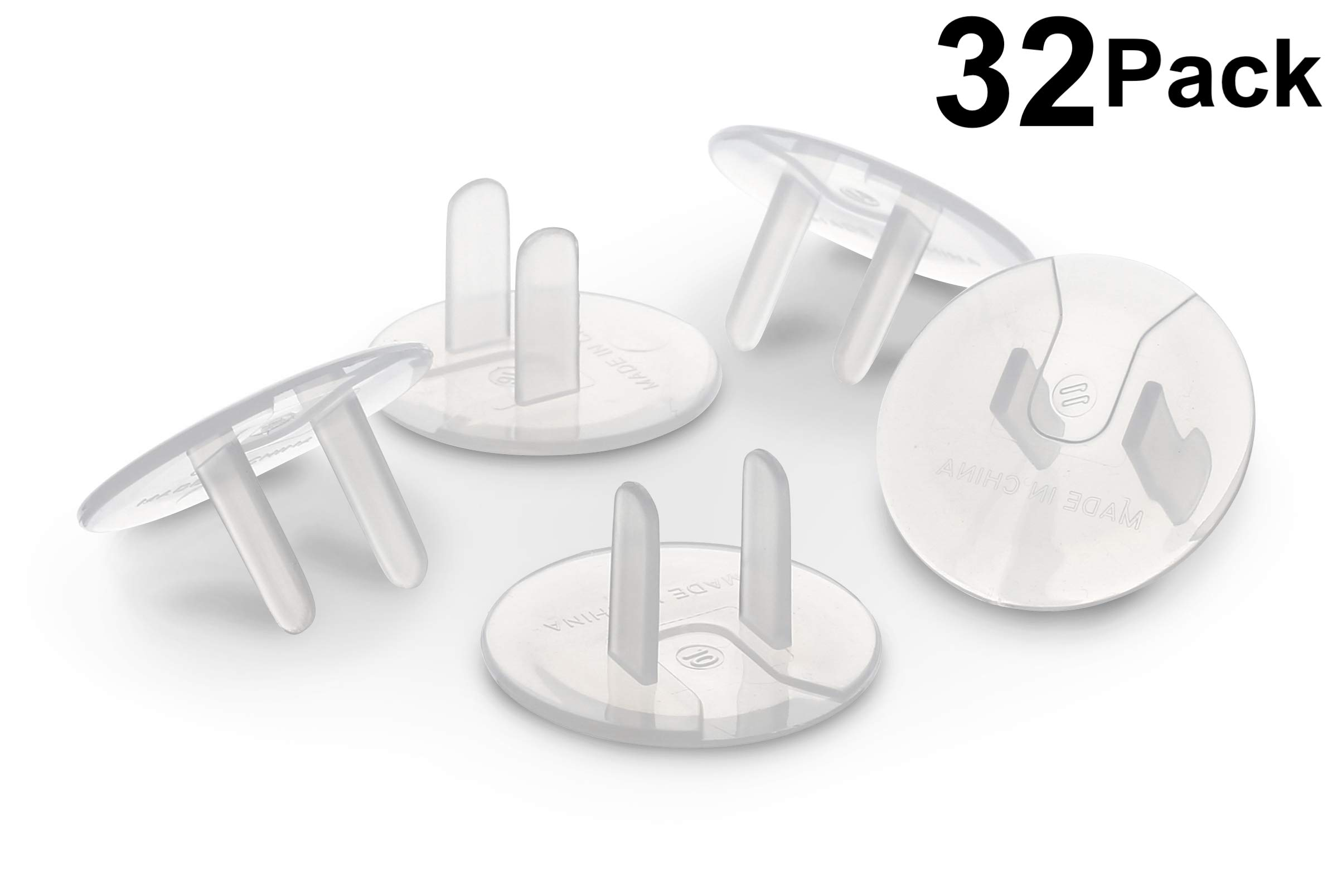 Outlet Plug Covers (32 Pack) Clear Child Proof Electrical Protector Safety Caps by Jool Baby Products