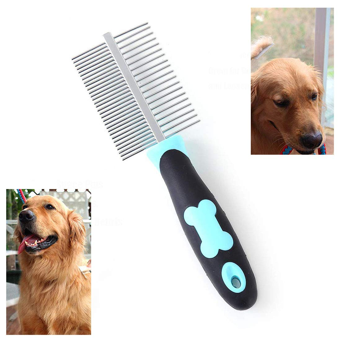PETGDS Dog Grooming Comb Medium and Large Pets with Long Hair Pet Grooming Tool for Small Pet Double-Sided Flea Comb Cat Stainless Steel Shedding Brush with Slip-Proof Handle