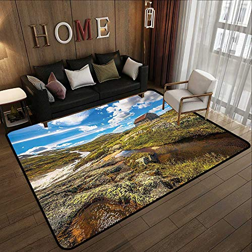 Throw Rugs,Farm House Decor Collection,Abandoned House into Wilderness by River on Hillside with Stones Highland Landscape,Geen Blu 71