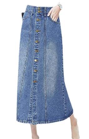 pipigo Falda Larga de Jean Vintage de Talle Alto con Botones, para ...