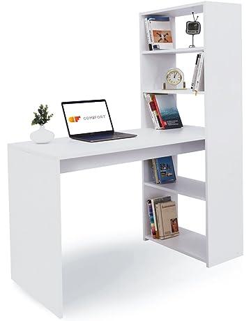 COMIFORT T08B - Escritorios y Estantería Reversible Mesa de Ordenador Juvenil o para Oficina 120x52x72/
