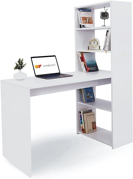 COMIFORT Escritorio con Estantería - Mesa de Estudio con Librería de Estructura Firme, Moderna y Minimalista con 4 Baldas Espaciosas y de Gran ...