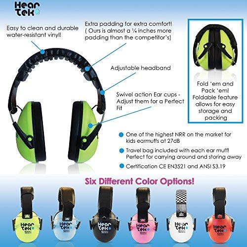 HearTek Kids Earmuffs Hearing Protection with Travel Bag- Junior Ear ... 12446a35aa42