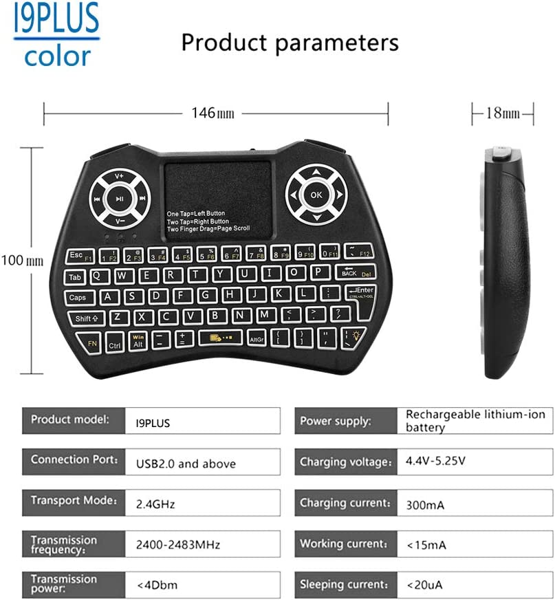 Backlight Fly Air Mouse Wireless Keyboard with Touchpad Remote Control for Android TV Box//TV//Mini PC//Projector//X96 ForHe 2.4GHz Mini Wireless Keyboard with Touchpad Mouse Keyboard