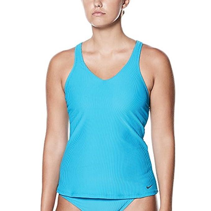 6e60da5a00 Nike Swim Women's Ribbed Racerback Tankini Top Blue Fury: Amazon.ca ...