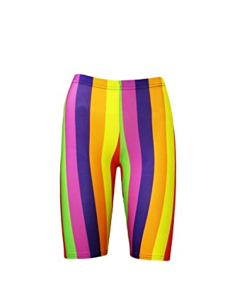 Insanity Clothing Funky Multicoloured Rainbow Vertical Stripes Cycle Shorts   Amazon.co.uk  Clothing d90d39a5a