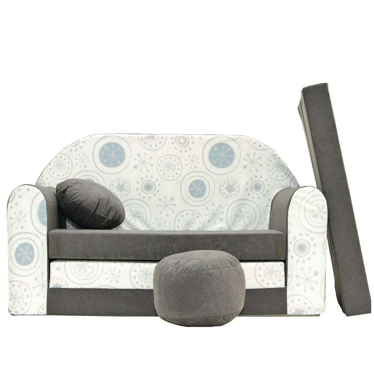 A50bambini Sofa Divano Letto Divano Sofa Mini Couch 3in 1Baby Set + sedia per bambini e cuscino + MATERASSO Grigio con modello