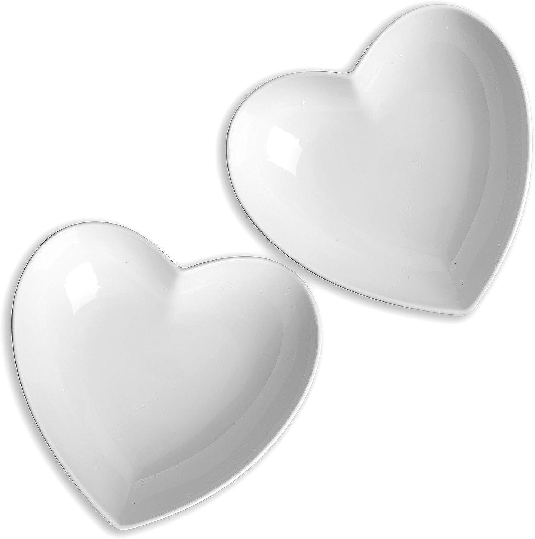 1L en Forme de Coeur Lot de 2 Grand Bol en C/éramique Blanc Bol /à Salade//Bol /à Soupe//Bol de Fruits pour Desserts//P/âtes//D/îner