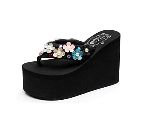 ae9a6cc17 DANDANJIE Womens Flip Flops Beach Platform Wedge Sandals 11cm Bohemia Foam  High Heel Slippers Summer Shoes