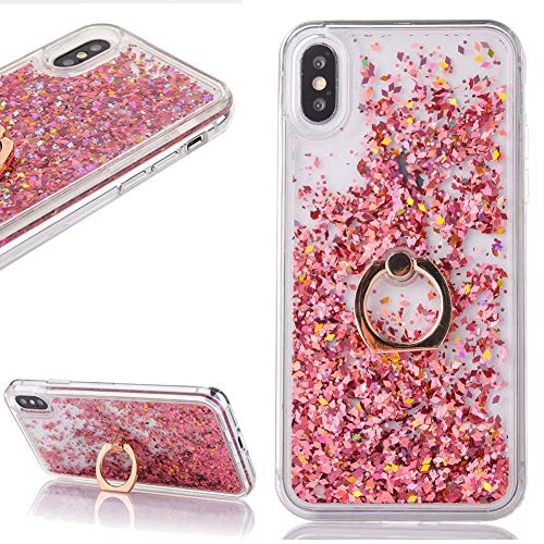 Liquid Glitter Rose Gold Case for iPhone Xs Max with Ring Holder Stand Bling Sparkle Quicksand Floating Flowing Waterfall Gradient Hearts Clear Crystal Hard Plastic Cover for Girls ()