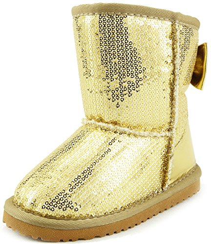 The Doll Maker Metallic Gold Sequins Snow boot - FBA1641707-10