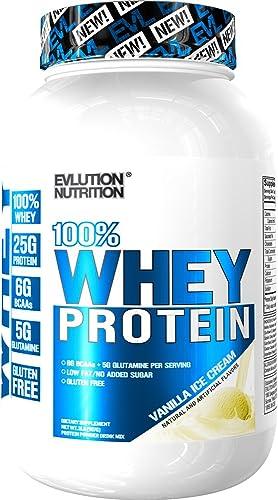 Evlution Nutrition 100 Whey Protein, 25g of Whey Protein, 6g of BCAAs, 4g of Glutamine, Gluten Free 2 LB, Vanilla Ice Cream
