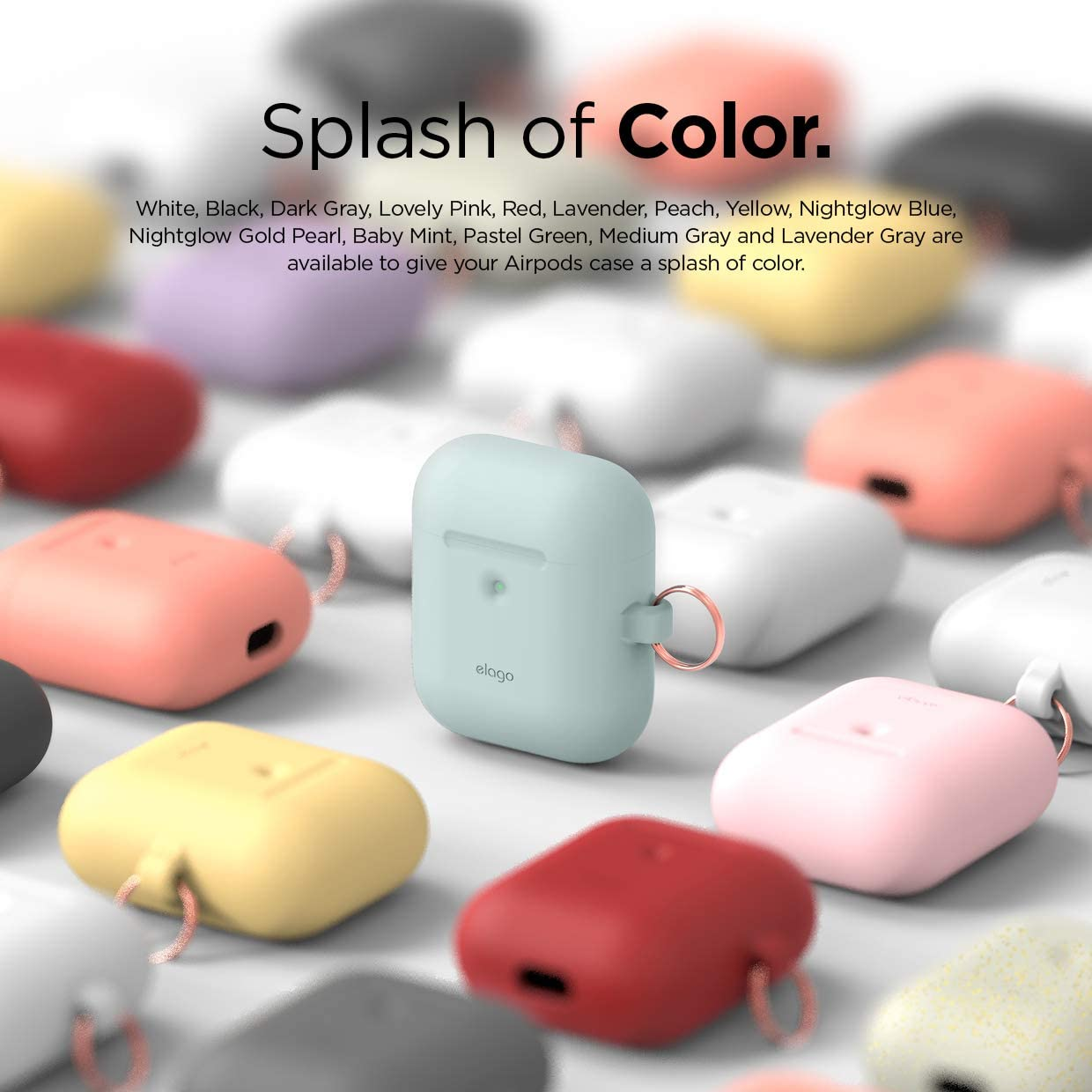 Cute Design With Carabiner Front LED Visible Shock /& Scratch-Resistant Supports Wireless Charging Baby Mint elago AirPods Case Cover- Compatible with Apple AirPods 2 Case 2019 Latest Model Non-Slip Protection Silicone Material