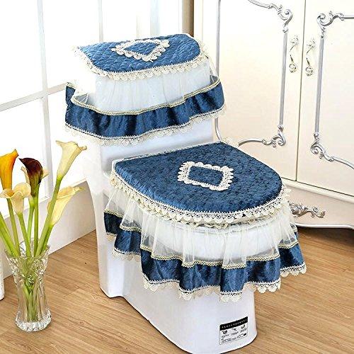 tre pezzi verde BAOZIV587 Cuscino del sedile del WC Cuscino tre pezzi universale con cerniera in pizzo Tessuto per bagno quattro stagioni coreano Sophie