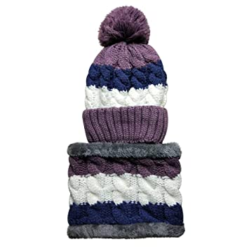 b4d0394f46b Amazon.com   AutumnFall Winter Women Knitted Hat Scarf Set Hairball Pom Pom  Fashion Velvet Thickening Hat Collars Female Warm Beanie Hat Riding Snow  Caps ...