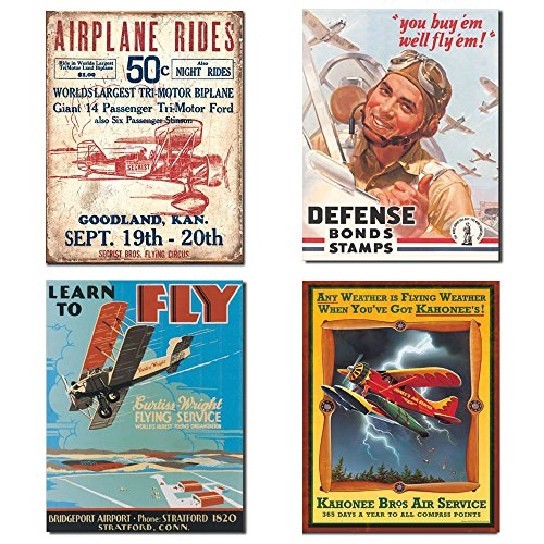 Tin Flying Sign (Vintage Airplane Tin Sign Bundle - Airplane Rides Secrist Flying Circus, Defense Bond Stamps Fly'em, Learn to Fly and Kahonee Air Service)