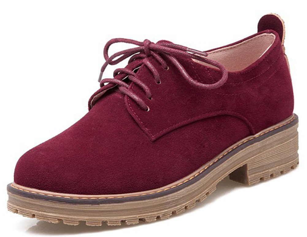 IDIFU Women's Classic Low Chunky Heel Platform Low Top Lace up Oxfords Shoes Wine Red 6 B(M) US