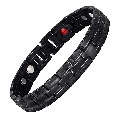 4b060d2043a19 Hottime Healing 4 in 1 Bio Elements Energy Bracelet Men's Fashion Titanium  Steel Jewelry for Arthritis Pain Relief