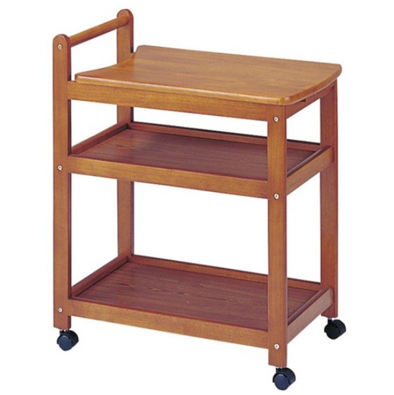AHEART 木製キッチンワゴン 3段 キャスター付き 収納 スライド ポット台 SI 66 ブラウン B07BJ4TG38  ブラウン