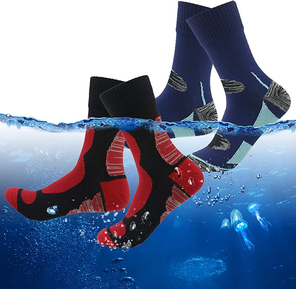 RANDY SUN Breathable Waterproof Socks, Men Women Skiing Hiking Cycling Outdoor Sports Socks, Protect from Rain, Snow, Mud 2 Pairs Navy&Red Small