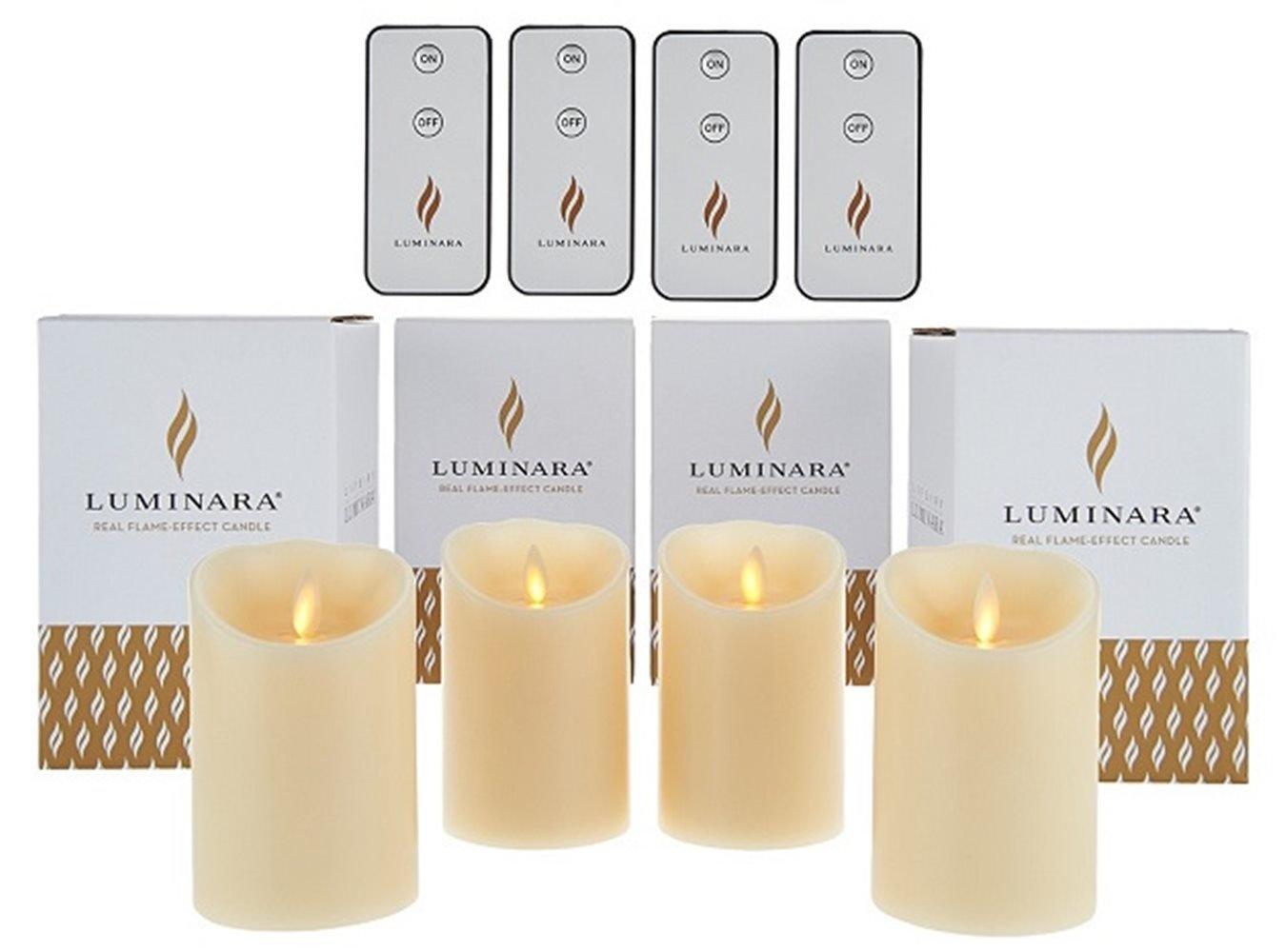 Luminara 4'' Unscented Flameless Candles with 4 Remotes - Set of Four Ivory