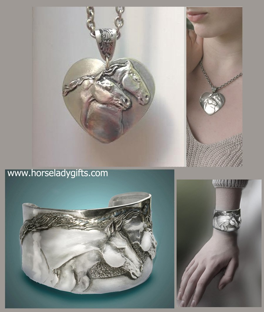 Horse Lady Gifts Two Horses Cuff & Necklace Gift Set