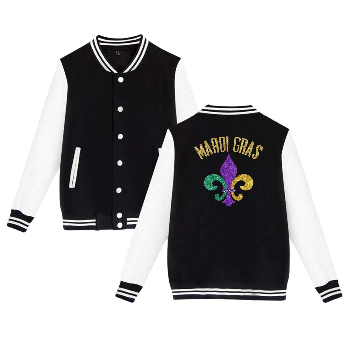 Mardi Gras Fleur De Lis Glitter Baseball Jacket Uniform Unisex Sweater Coat