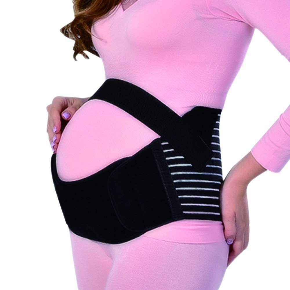 Yuccer Maternity Support Belt, Breathable Pregnancy Belly Band for Women Exercise Back Pain Relief Plus Size (black, XL)