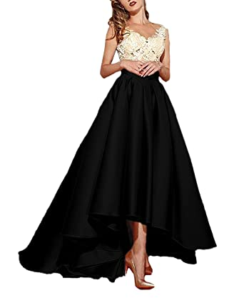 6cd87f70f4 Lafee Bridal Women s High Low Lace Prom Evening Dresses Long Pleated Formal  Gown Black Size 2