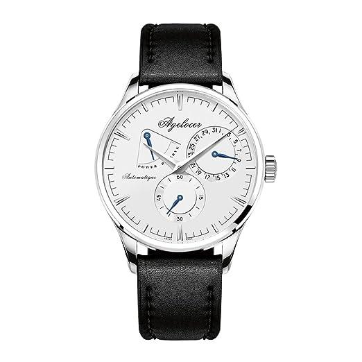 Agelocer Reloj Analógico Automático para Hombre con Correa en Cuero 4101A1-Black: Amazon.es: Relojes