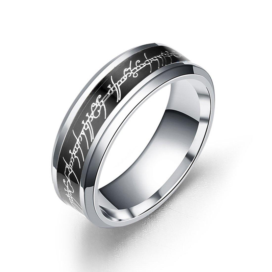 Dalaran Anillos de acero inoxidable para hombres Mujeres Los señores de los anillos de plata / negro / oro