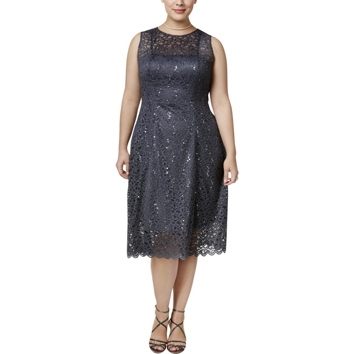 Betsy & Adam Womens Plus Lace Sequined Cocktail Dress Gray 20W