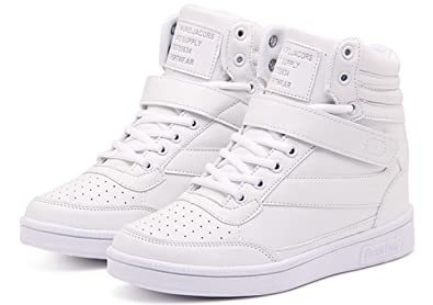 70a368d10ee ACE SHOCK Women s Casual High Top Hidden Heel Wedges Fashion Sneakers (5)  White