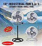 PrimeTrendz TM 18 Inch Industrial Grade High Velocity 3 in 1 Floor Stand Mount Oscillating Fan (Stand + Desk + Wall Fan) by USA Cash and Carry!