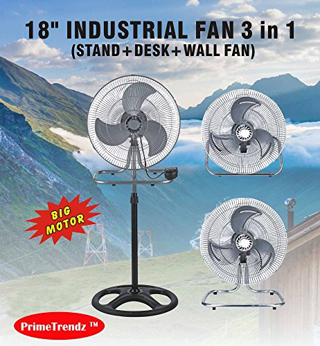 PrimeTrendz TM 18 Inch Industrial Grade High Velocity 3 in 1 Floor Stand Mount Oscillating Fan (Stand + Desk + Wall Fan) by USA Cash and Carry! by PrimeTrendz TM