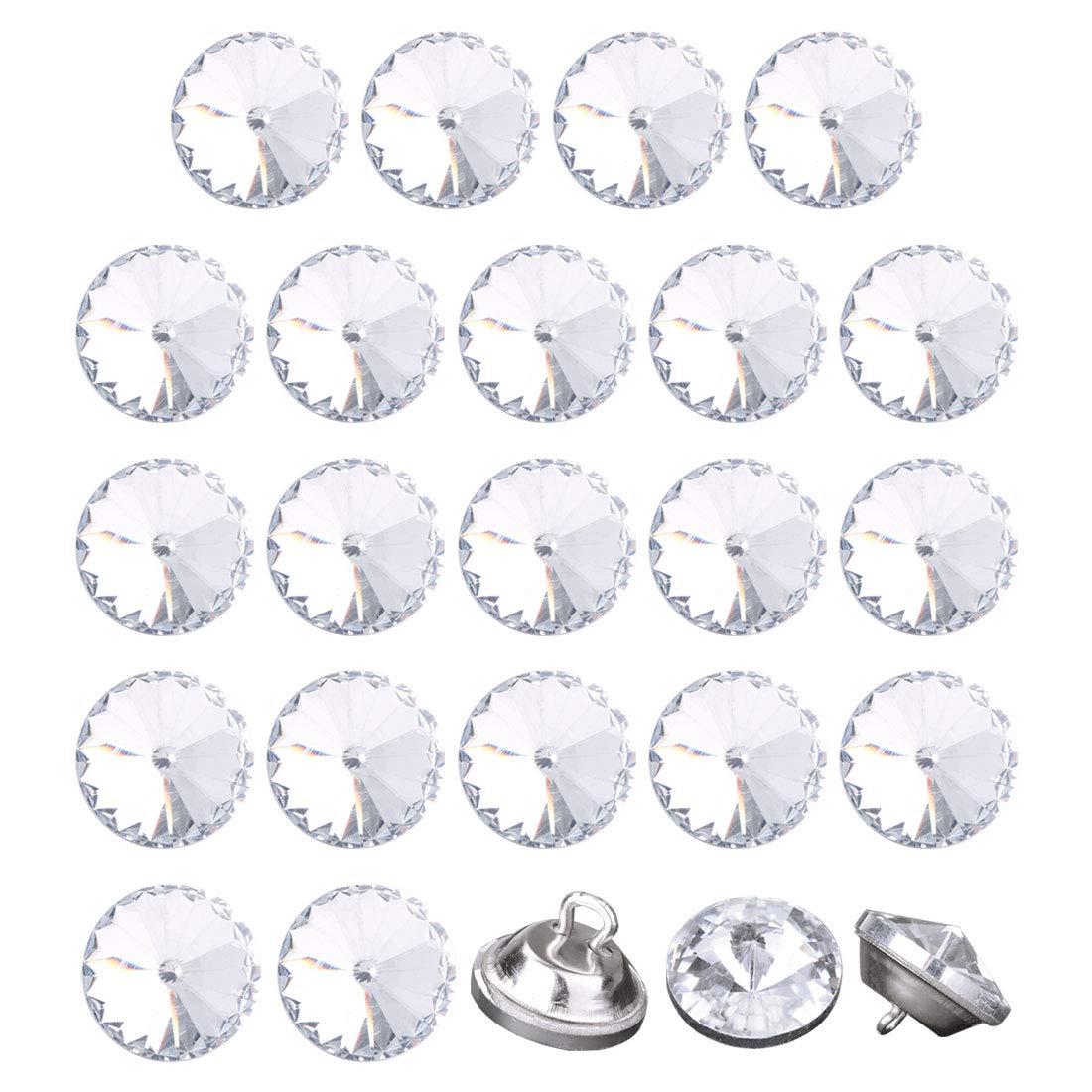uxcell 24pcs Furniture Tack Nails 12mm Dia Round Head Diamond Shape Glass Thumbtack DIY Sofa Buttons Headboard Crafts Decorate Silver Tone