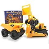 Toy State CAT Construction Trucks & Where Do Diggers Sleep At Night? Board Book Set by Growing Hero