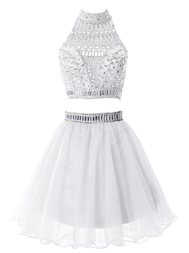Snowskite Women's Short Two Pieces Beading Tulle Homecoming Prom Dress White 2