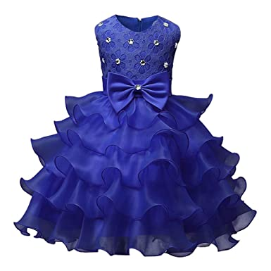 1b84b002bb30 Amazon.com  Teen Kids Toddler Baby Girls Floral Dress Sleeveless Lace  Ruffles Tiered Dresses Outfits Little Princess Skirt Wedding Party  Clothing