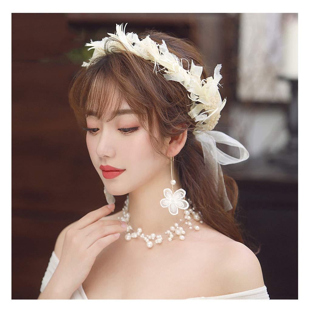 Wreath Flower Wedding Bridal Headdress Sen Champagne Flower Headband Pendant Set