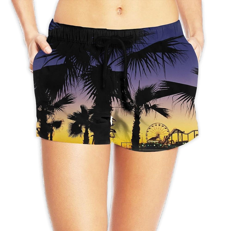 6f92c5f8be Li2u-id Girl Quick Dry Beach Shorts Palm Trees at Dusk Waist Elastic Design  Swimwear