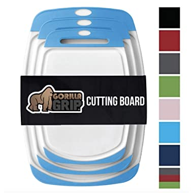 GORILLA GRIP Original Reversible Cutting Board (3-Piece), BPA Free, Dishwasher Safe, Juice Grooves, Larger Thicker Boards, Easy Grip Handle, Non-Porous, Extra Large, Kitchen (Set of Three: Aqua)