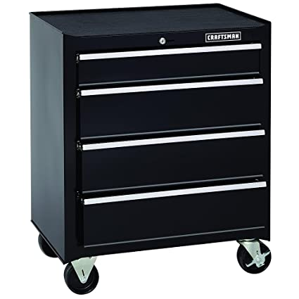 Craftsman 26 Inch 4 Drawer Standard Duty Ball Bearing Rolling Cabinet    Black