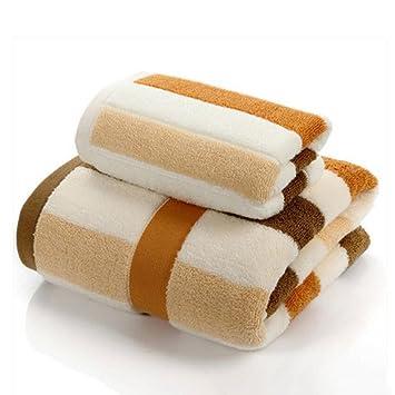 Wddwarmhome amarillo marrón rayas toallas de baño algodón absorbente toallas hombres y mujeres parejas toallas de baño toallas de baño 2 toallas 2: ...