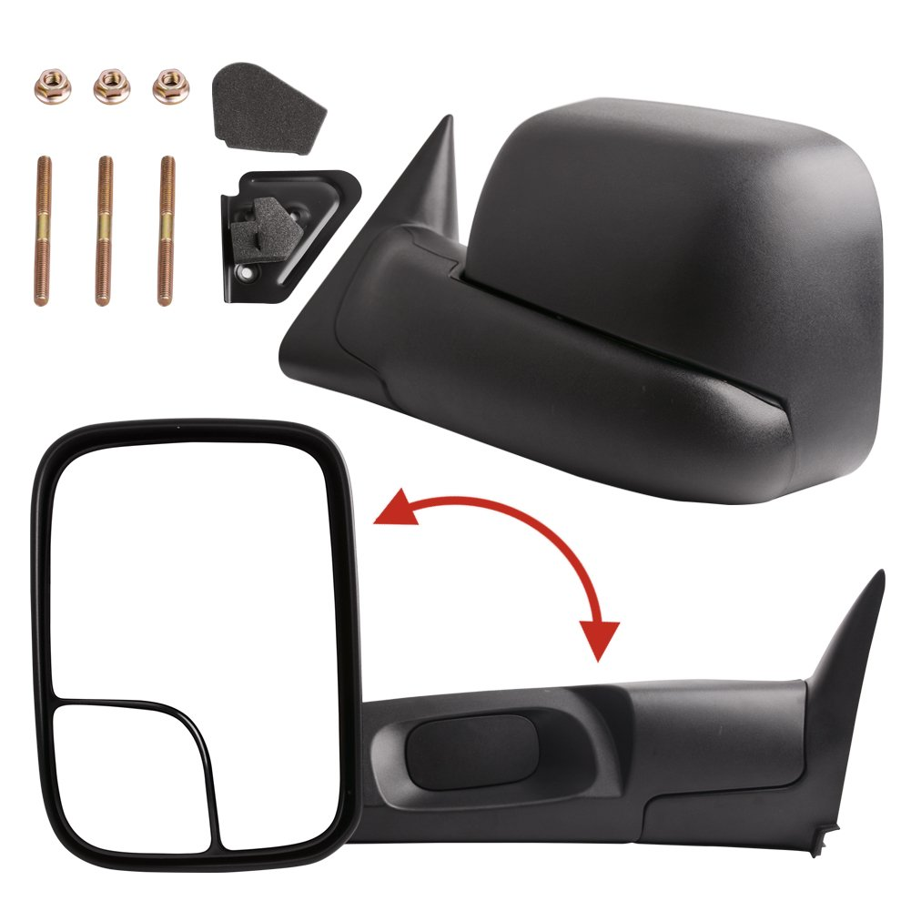 YITAMOTOR Towing Mirrors for Dodge Ram, Power Heated Flip-up with Convex Lens Tow Mirrors (Pair Set), for 2002-2008 Dodge Ram 1500, 2003-2009 Dodge Ram 2500 3500