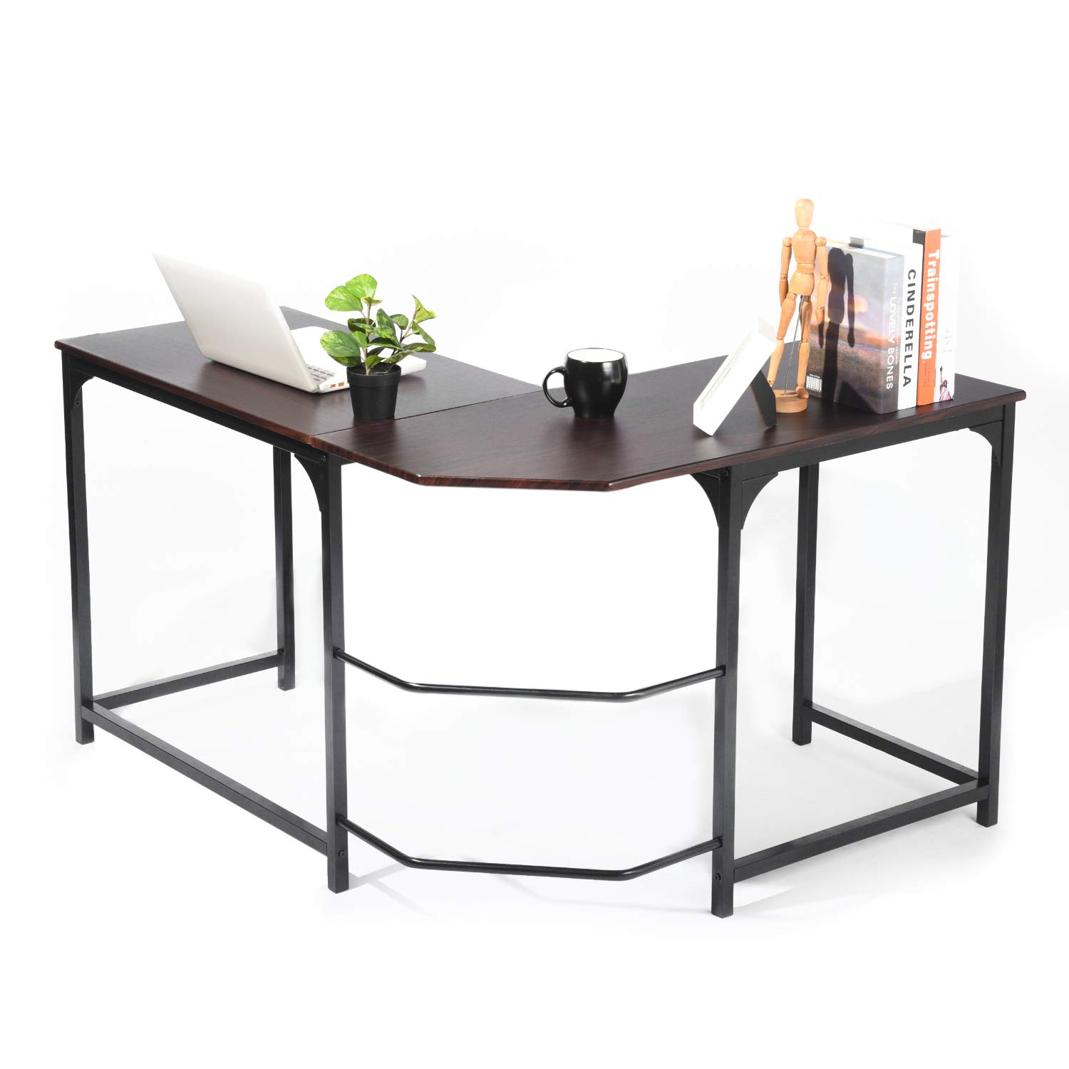 GreenForest L Shaped Desk Home Office Corner Computer Desk PC Laptop Study Table Workstation, Espresso