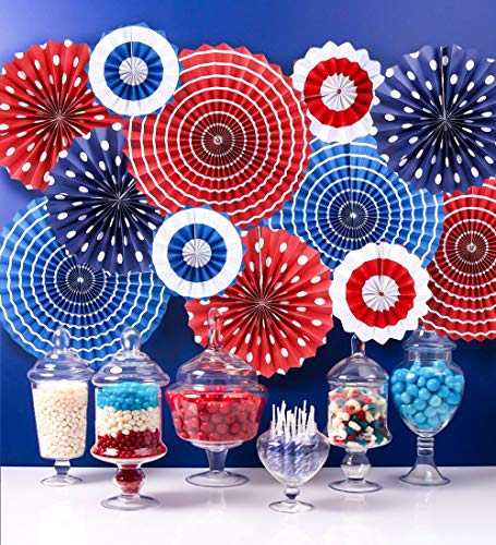 Moon Boat Fourth of July Patriotic Decorations - Red White Blue Hanging Paper Fans - 4th of July Party Favors -