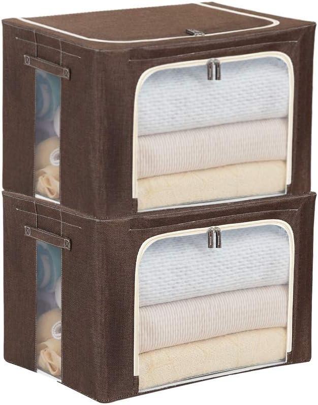 Caja de almacenamiento de dos paquetes for el hogar 66L, caja de recepción plegable, con tapa Caja Tidy de alta capacidad, cajas de recibos de transparencia visible y cajas de reserva de cajas de artí