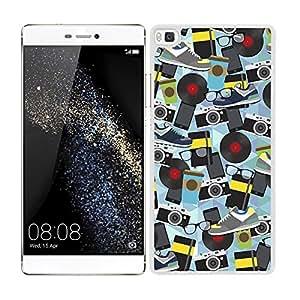Funda carcasa para Huawei P8 estampado sticker bomb zapatillas gafas cámaras borde blanco